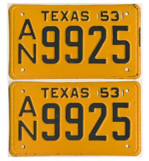 UNUSED Texas 1953 License Plate NOS PAIR Chevy Ford Dodge