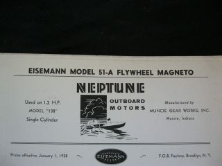 51 A NEPTUNE OUTBOARD MOTOR FLYWHEEL MAGNETO PARTS LIST & DIAGRAM