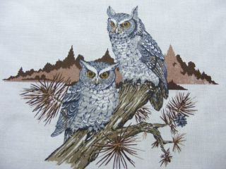 OWLS ON TREE BRANCH~VINTAGE FABRIC PANEL OR SQUARE~8 1/2 x 8 1/2