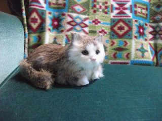 REALISTIC KITTY CAT kitten FURRY ANIMAL REPLICA toy c344grey FREE