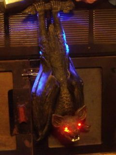 HALLOWEEN HANGING LIGHTED ANIMATED MOVING ROCKING CAVE BAT DECORATION