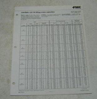 FMC Link Belt ca. 1980s LS 118 Crane Lifting Specs