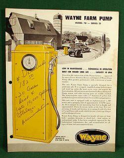 Wayne Gas Pump Literature Brochure, Model 70 Series 2F Farm Pump