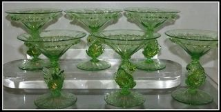 Set of 6 Antique Green Swan Venetian Glass Martini Cocktail Stems NR