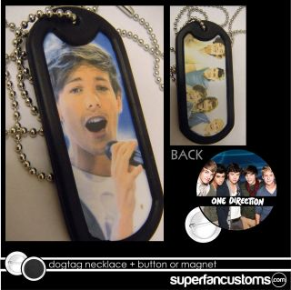 Louis Tomlinson DOGTAG NECKLACE + BUTTON or MAGNET pin one direction
