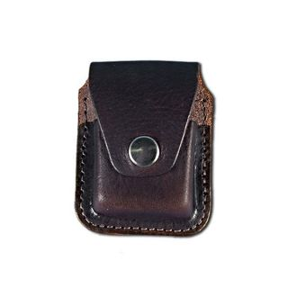 ZIPPO LIGHTER CASE HOLDER SNAP CLOSURE BROWN LEATHER 3X2.5 BELT LOOP