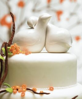 Contemporary Love Birds Porcelain Wedding Cake Topper
