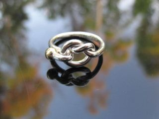 Tiffany & Co Silver 18K Gold Love Knot Ring Size 5.5