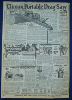 Saws, Logging Wood Cutting Equipment, Vintage Antique 1920s Wards Ad