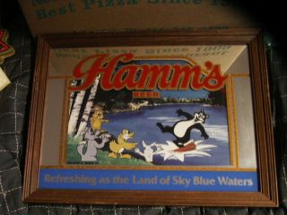 Hamms Beer Sign Mirror Bear Log Rolling Squirrel Racoon Duck Rabbit