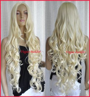 35 Long Blonde Spiral Wavy Cosplay Hair Wig 613