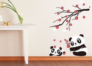 Baby Panda Wall Sticker Home Decor Panda and Cherry Blossom Tree