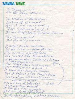Johnny Cash autograph, handwritten song lyrics