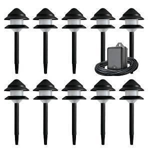 Malibu 10 Piece Low Voltage Black Plastic Tier Light Kit