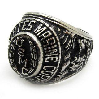 warrior hero badge marine corps USMC ring stainless steel punk size10