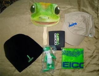 Lot GEICO Gecko Beanie & Baseball Cap Hat Bag Plush Toy Fan Coozie