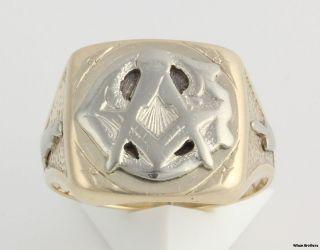 Blue Lodge Masonic Vintage Band   10k Yellow & White Gold Ring 7+g