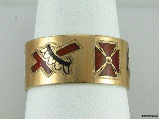 Multi Symbol Masons KNIGHTS TEMPLAR Band 10K Rose GOLD Masonic Unique