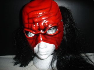 WWE KANE REPLICA WRESTLING RAW NEW MASK W HAIR WIG FANCY DRESS UP