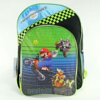 Super Mario Brothers Green Checkered 16 Backpack   Boys School Book