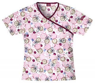 Dickies Medical   Dental Uniform Scrubs   Print Top ** Pink Bubbles **