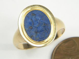 ANTIQUE 18K GOLD LAPIS LAZULI ANCIENT ROMAN INTAGLIO SEAL RING c1780