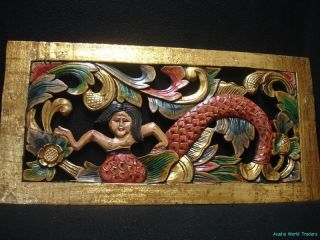 Bali Mermaid Panel hand carved wood Balinese architectural Wall Art