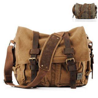 NWT Men Women Canvas Cow Leather Shoulder Bag Messenger Bag School Bag