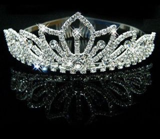 Silver Princess Crystal Rhinestone Wedding Bride Headband Tiara Comb