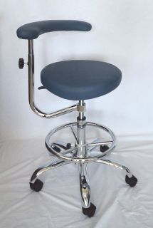 MEDICAL DENTAL ASSISTANTS STOOL/CHAIR W/FOOTRING DUSTY BLUE