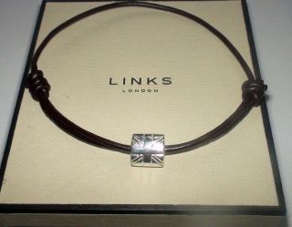 LINKS OF LONDON MENS Silver Union Jack Bead Friendship Bracelet (L84