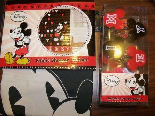 Mickey Mouse Fabric Shower Curtain & 12 Piece Hook Set Bath NIP
