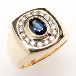 Mens Natural Blue Sapphire & Diamond Ring Solid 14K Gold Fine Estate