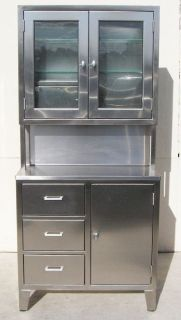 Stainless Steel Medical Storage Cabinet, Kennedy Style, w/ Narcotics