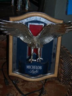 Michelob light BEER sign EAGLE lighted mirror 1987 RARE insignia