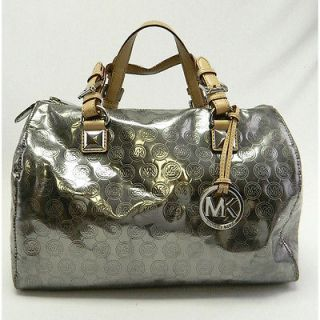MK MICHAEL KORS GRAYSON LARGE SATCHEL MONOGRAM MIRROR SILVER $328