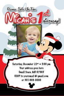 DISNEY MICKEY MOUSE Birthday Invitation Holiday Christmas Photo Card