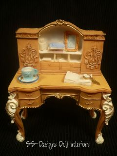 Dollhouse Miniature Writing Desk Ornate French Provincial Ceramic Half