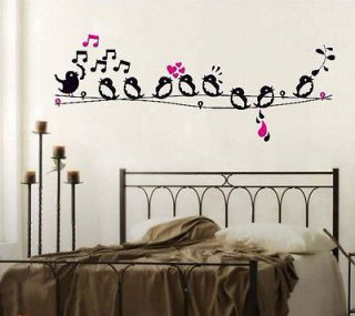Bird Singing On The Wire/Music Notes Removable Wall Sticker Home