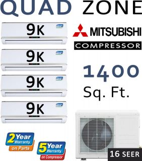 QUAD Zone Ductless Mini Split Air Conditioner, Heat Pump 36000 BTU