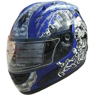 Motorcycle Full Face Sport Helmets DOT Monster 134 Blue
