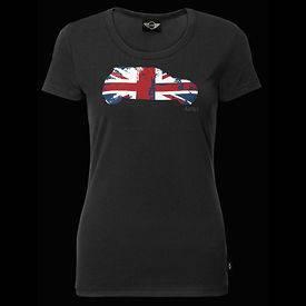 MINI Cooper Womens Ladies Black Britcar Union Jack Tee Shirt T Shirt