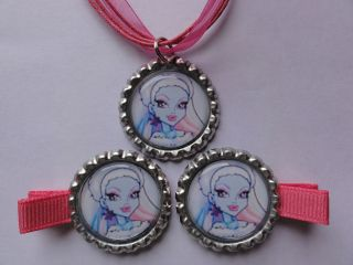 Monster High Abbey Bominable Bottle cap necklace Hair clips #2