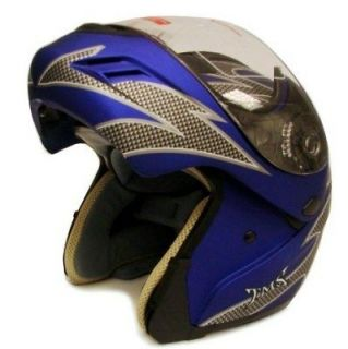 BLUE MODULAR FLIP UP FULL FACE MOTORCYCLE HELMET DOT ~L