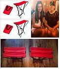 Red Portable Pocket Chairs Fold Up Seats ~ Sports Games Camp Garden