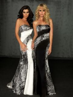 Night Moves Prom/Pageant Dress size 0 NWT #6022 Wht/Blk RETAIL $300+