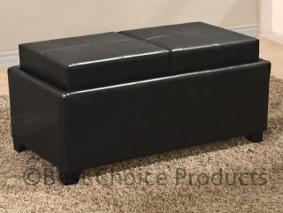 Leather Ottoman With 2 Tray Top Storage Coffee Table Bench Ottoman
