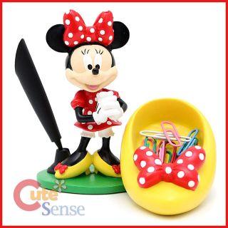 Disney Minnie Mouse Paper Clip Holder Pen Holder Resin Figure Desk