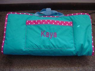 Girls Toddler Aqua Pink trim Nap Mat W/Matching Blanket Daycare Child