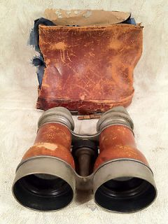 Antique Chevalier Opera Glasses Binoculars Paris France Leather and